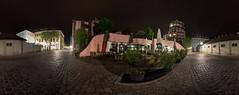 Nachts zwischen Landtag und Hundertwasserhaus - 360 (diwan) Tags: city nightphotography light panorama architecture night canon germany geotagged deutschland eos view place stitch nacht roundabout co