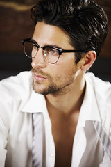 (JulieF514) Tags: people house man sexy male men guy home look businessman shirt youth standing person one glasses hands looking adult masculine gorgeous think young handsome tie style hunk dressing indoors thinking cropped inside executive spectacles dressed masculinity rugged 20s caucasian smartwear