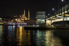 2 seconds over the Golden Horn (Vagelis Poulis) Tags: bridge sea night reflections turkey lights nightlights istanbul mosque galata galatabridge bosporus seareflection