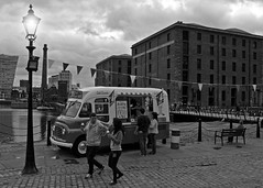 99'er (Stephen Whittaker) Tags: old light boy man black male ice lamp girl lady female liverpool docks vintage mono dock nikon women albert victorian cream retro maritime vehicle whit van cobbles merseyside d5100