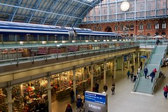 King's Cross St. Pancras station (micmol ) Tags: architecture daylight station uk airy architecturehistory architecturemixstyle bright building caucasian city clock commuting convergence crowd day daytime eurostar fromadistance group horizontal indoors level light london passengers people perspective shopwindow shoppingmall stpancras steel style tech technology terminal train trainstation transportation transportationsystem urban
