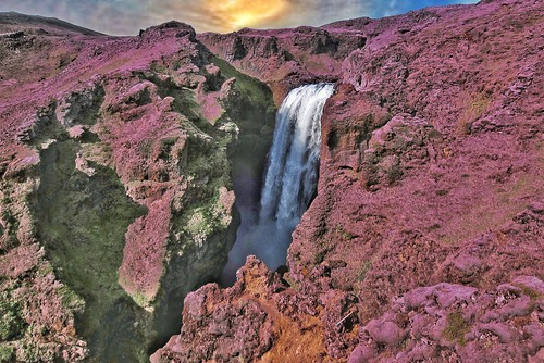 Iceland ~ Landmannalaugar Route ~  Ultramarathon is held on the route each July ~ Water Falls