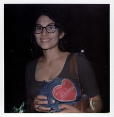 Cinthya's Heart Belongs To Polaroid (tobysx70) Tags: the impossible project tip polaroid slr680 frankenroid sx70 door rollers film for 600 type cameras instant impossaroid cinthyas heart belongs to ourvodka south santa fe avenue los angeles la california ca cinthya portrait flash tuesday bassen custom patch denim jean jacket toby hancock photography