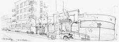 NYC, Box street (Croctoo) Tags: croctoo croquis croctoofr crayon nyc newyork brooklyn taxi hotel