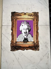 Queen Einstein (the justified sinner) Tags: justifiedsinner graffiti queen tongue sticker poster endless elizabeth ii london panasonic 17 20mm gx7