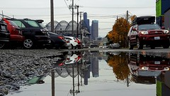 Seattle in a puddle (rve13) Tags: seattle safecofield puddle reflection