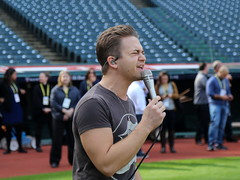 Five-time Grammy nominee Hunter Hayes performs his national anthem soundcheck, hours before Game 6 of the World Series. (apardavila) Tags: postseason wordseries baseball hunterhayes majorleaguebaseball mlb progressivefield sports worldseries
