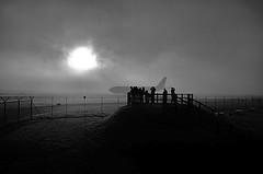 "Watching the planes go by ! (CJS*64 ""Man with a camera"") Tags: nikon nikkorlens nikkor nikond7000 dslr d7000 18mm105mmlens cjs64 craigsunter cjs craig blackwhite bw blackandwhite whiteblack whiteandblack mono monochrome fog foggy airport manchester manchesterairport watching"