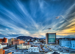 White Clouds Fan Roanoke (Terry Aldhizer) Tags: white clouds fan roanoke mill mountain poff buildings wide angle sky autumn fall november star terry aldhizer wwwterryaldhizercom