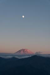 Beni Fuji and the Moon (Yuga Kurita) Tags: fuji fujisan fujiyama mount mt japan landscape nature moon beni pink red dusk sunset vertical portrait format sky snowcapped mountain