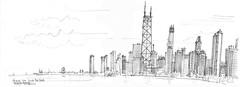 Chicago, vue de la plage (Croctoo) Tags: sketch croctoo croquis croctoofr crayon chicago skyscraper skyline gratteciel