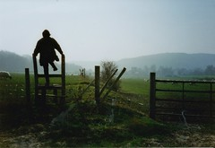 Sussex Style (brightondj - getting the most from a cheap compact) Tags: scan scanned 1997 pentaxmesuper southdowns southdownsnationalpark mum walk ramble stile fence