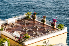 Solitude (Culinary Fool) Tags: verticalliving amalficoast october patio water positano italy italia 2016 18135mm brendajpederson chairs rooftop tyrrheniansea culinaryfool campania deck terrace