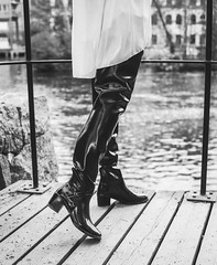 ACQUO Boots from sweden (PhotographerJockeFransson) Tags: rubber latex boots blacknwhitephotography blacknwhite overkneeboots overknee