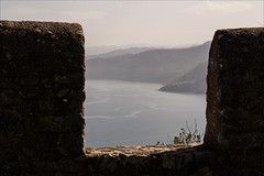 PA136665 Italy Sicily Cefalu (Dave Curtis) Tags: 2013 cefalu em5 europe italy omd olympus sicily castle battlements sea hills