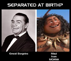 SEPARATED AT BIRTH : ERNEST BORGNINE and MAUI from MOANA (DarkJediKnight) Tags: ernest borgnine moana disney animated dwayne therock johnson humor parody spoof