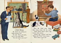A radio program (katinthecupboard) Tags: vintagechildrensillustrations vintagechildrenssociology socialscience 1937 clarencebiers biersclarence townlife dog radio