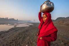 MYI_6253 (yaman ibrahim) Tags: india agra nikon d3 tajmahal yamuna morning water saree mis misty