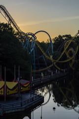 Busch Gardens Williamsburg - Sunset (holl7510) Tags: sunset reflection williamsburg amusementpark rollercoaster themepark buschgardens