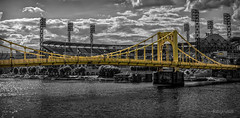 Do What You Do II (Anthony Pallotto Photography) Tags: city bridge sky urban usa reflection clouds america river landscape outdoors lights town photo nikon pittsburgh baseball pennsylvania stadium pirates picture fans dslr pncpark shimmering nationalleague yellowbridge d7000