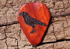 Crow - on Padouk Wooden Guitar Pick (spenceriko) Tags: wood musician music tree love beauty electric shop design wooden carved lyrics artist hand guitar handmade song patterns player musical exotic sound singer acoustic customized grains etsy pick custom tone songs picks strumming personalized chords figured plectrum strum skill personalize etsycom