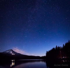 Camping under the Stars at Trillium Lake (Alene Davis) Tags: camping night clouds forest stars campfire mthood nightsky trilliumlake mthoodnationalforest