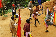 Bhutanese Archery, Punakha, Bhutan (Andie PJ) Tags: architecture dance asia bhutan buddha traditional buddhism archery traditionalsport
