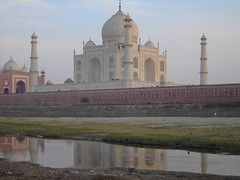 Taj Mahal reflections in Agra India. The majesty of the Moghul era in India.