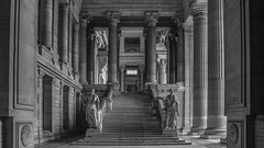 brussels (staluns) Tags: brussels blackandwhite statue architecture stairs belgium lawcourts column palaceofjustice