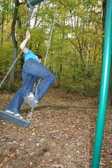Vv_9626 (grail76) Tags: feet girl sandals swing chain jeans acrobatics acrobat swingset brunette