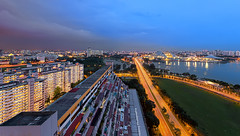 Nicoll's Luminous Canvas (Mabmy) Tags: city blue sunset skyline night canon evening highway cityscape wide sigma trail bluehour 12mm scape ultrawide hdb 1224 lighttrail sigma1224 nicoll 1dx canon1dx