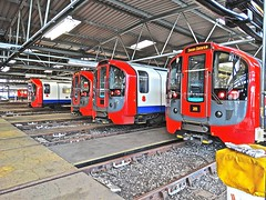 09 Stock Line Up (Deepgreen2009) Tags: train tube railway depot londonunderground victorialine northumberlandpark 09stock