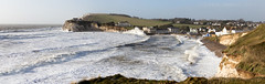 Hercules at Freshwater Bay  - Panorama (s0ulsurfing) Tags: uk greatbritain england panorama storm english beach island photography waves image unitedkingdom january stormy spray vectis isleofwight gb splash isle hercules wight 2014 westwight stormwatching freshwaterbay s0ulsurfing jasonswain