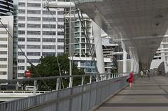A bit of red (annburlingham) Tags: city bridge urban white lines walking vanishingpoint footbridge sunny australia brisbane winner queensland tcf touchofred thechallengefactory