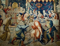 Scenes from the Book of Tobias: Gabael Attends the Wedding Feast of Tobias and Sara. Brussels tapestry, wool and silk, 1540/50 (Matilda Diamant) Tags: vienna old city wedding brussels art history wool museum feast austria book town europe sara european fine arts silk culture master tobias scenes cultural tapestry austrian kunsthistorisches rusalka attends 154050 gabael