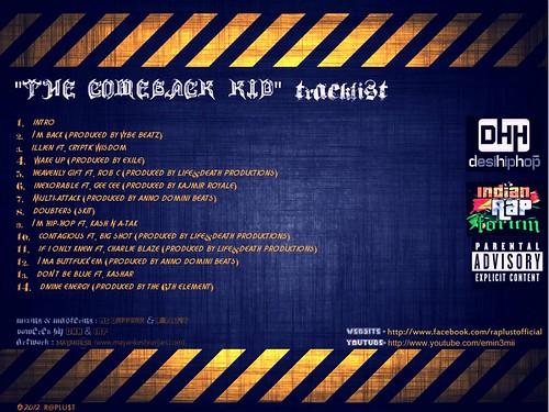DVD song list Design: RAP Artist (INDIA)