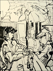 Two Men at Hitching Post Saloon (Kerry Niemann) Tags: inkdrawing apachejunction hitchingpostsaloon