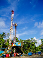 Somewhere Near Sorong (GlobalGoebel) Tags: west indonesia olympus gas jungle rig western oil land pointandshoot derrick papua indonesian drilling schlumberger kmt onshore petrochina oilandgas irianjaya wireline wirelinetruck