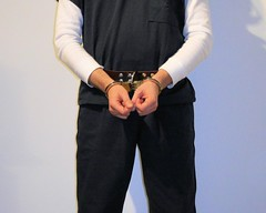waist belt (rainerzufall1234) Tags: inmate prisoner convict felon felony detainee jail prison bellychain waistchain handcuffs handcuffed manacles manacled shackles shackled chains chained jumpsuit uniform arrest arrested transport waistbelt