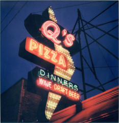 There's Pizza in the Continuum ([jonrev]) Tags: qs pizza neon sign night dark glow light hillside illinois street vintage polaroid sx70 impossible project color 600 test film roidweek 2016 q continuum star trek tng