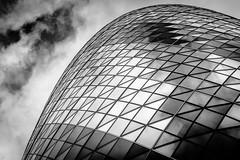 Architectural Triangles (Sean Batten) Tags: blackandwhite bw london england unitedkingdom gb architecture gherkin thegherkin clouds city urban nikon df 2470 30stmaryaxe openhouselondon
