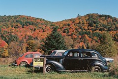 For Sale (Nsharp17) Tags: nikon nikonfe film 35mm kodak ektar ektar100 fall autumn foliage red orange car classiccar vintagecar hill vermont