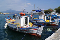 Fishing boats (Steenjep) Tags: samos holiday ferie greece grkenland pythagoreio harbour port boat fishing fishingboat tools nets pier water blue