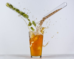 Making Beer (WideEyedIlluminations) Tags: green hops malt barley beer splash highspeedphotography jonsmithphotography wideeyedilluminations ingredients brew brewing beerscience testtube