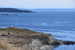 One Love...One Life (~~J) Tags: sanjuanstraits cliff powerstation sailboat water blue