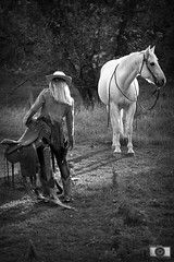 Ready (Kevin Aker Photography) Tags: kevinaker kevinakerphotography bestinbwphotography monochrome animals wildlife portraitphotography portrait model people ranch femalemodel female woman horse cowgirl ranchhand wyoming wyomingphotography