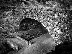 Bridge of stone (kwtracyghostship) Tags: pennsylvania kwtracyghostship pa alleghenycounty schenleypark westernpa pittsburgh unitedstates us moody bw blackandwhite highcontrast brooding mysterious creepy arched stone textures