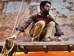 """Not sure I can do this!"" (gerrypopplestone) Tags: shipyard boatyard boatrepair bangladesh keraniganj dhaka repair cleaning workers shiprepair"