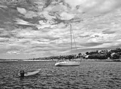 storm coming (www.toprq.com/iphone) Tags: 500px yacht boat sea beach ocean sky clouds blue sun summer travel light beautiful water storm wind waves sand seascape primosten croatia black white bw motorboat sail port anchoring coming landscapes