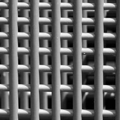 Plastic grids , space ,light B&W ( lost and found) (sandroraffini) Tags: light space shadows grids plastic urban details exploration minimalism square canon bologna supermarket angst claustrofobia grey bw abstract reality everyday life